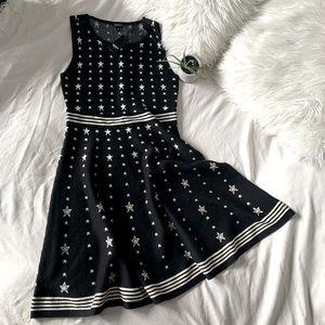 Torrid Black & Gold Star Sleeveless Skater Dress